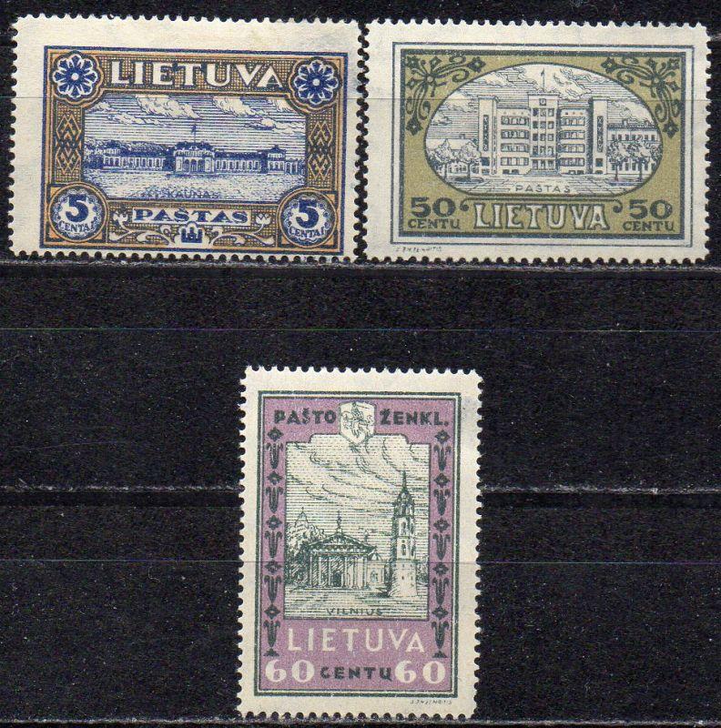 Litauen, Mi-Nr. 316 A, 320 A + 321 A *