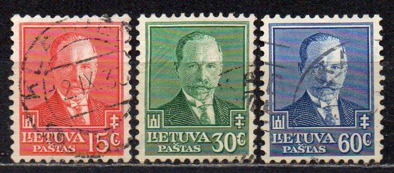 Litauen, Mi-Nr. 391 - 393 gest., kompl., 60. Geburtstag von Staatspräsident Antanas Smetona