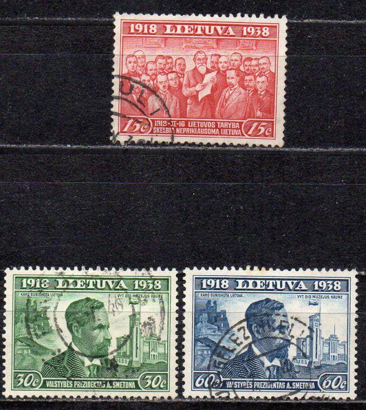 Litauen, Mi-Nr. 425, 426 + 428 gest., 20 Jahre Republik