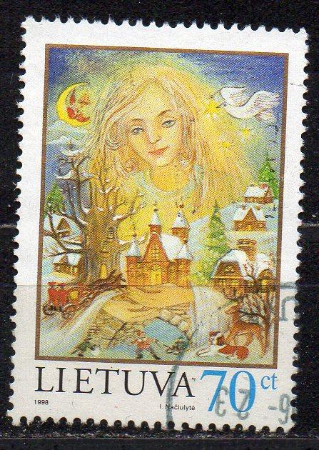 Litauen, Mi-Nr. 680 gest., Weihnachtsgrußmarke 1998