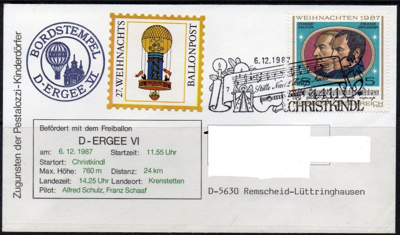 Österreich, Mi-Nr. 1908 gest. mit SST 6.12.1987 Christkindl, Weihnachten 1987, 27. Weihnachts-Ballonpost von Christkindl nach Krenstetten am 6.12.1987. Persönliche Anschriftendaten wurden ausschließlich auf dem Scan entfernt.