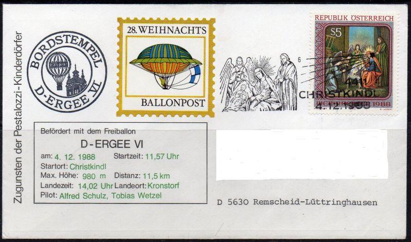Österreich, Mi-Nr. 1943 gest. mit SST 4.12.1987 Christkindl, Weihnachten 1988, 28. Weihnachts-Ballonpost von Christkindl nach Kronstorf am 4.12.1988. Persönliche Anschriftendaten wurden ausschließlich auf dem Scan entfernt.