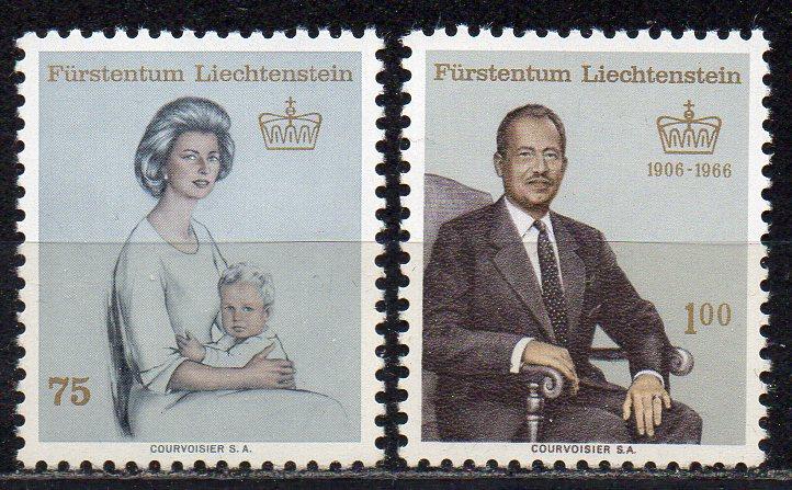Liechtenstein, Mi-Nr. 459 + 464 **, Fürstin Gina + Fürst Franz Josef II.