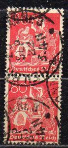Deutsches Reich, Mi-Nr. 166 gest., senkrechter 2´er-Streifen, WZ Rauten