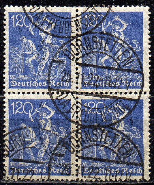 Deutsches Reich, Mi-Nr. 168 gest., 4´er-Block, WZ Rauten
