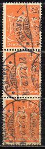 Deutsches Reich, Mi-Nr. 169 gest., senkrechter 3´er-Streifen, WZ Rauten