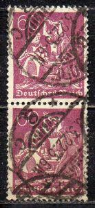 Deutsches Reich, Mi-Nr. 184 gest., senkrechter 2´er-Streifen, WZ Waffeln