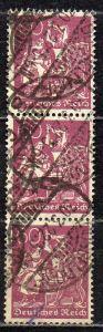 Deutsches Reich, Mi-Nr. 184 gest., senkrechter 3´er-Streifen, WZ Waffeln