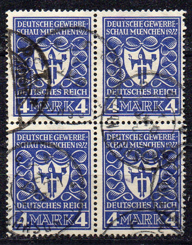 Deutsches Reich, Mi-Nr. 202 gest., 4´er-Block, Deutsche Gewerbeschau München