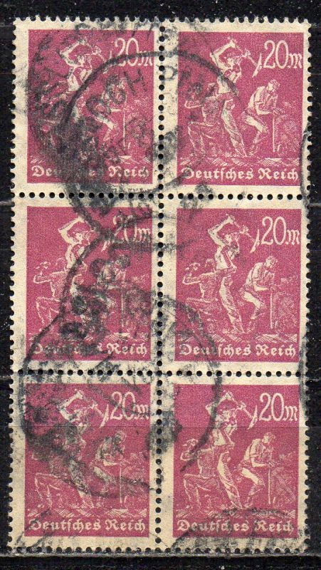 Deutsches Reich, Mi-Nr. 241 gest., 6´er-Block, Arbeiter