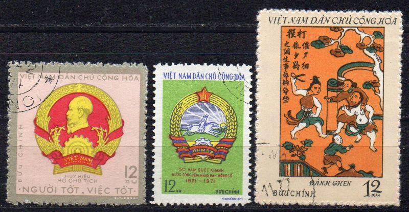 Vietnam - Nord, Mi-Nr. 653, 582 + 685 gest.,