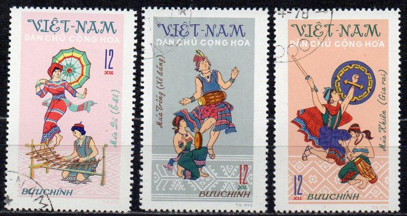 Vietnam - Nord, Mi-Nr. 709, 710 + 711 gest.,