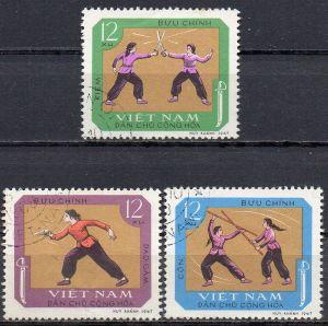 Vietnam - Nord, Mi-Nr. 544, 545 + 546 gest., traditionelle Sportarten