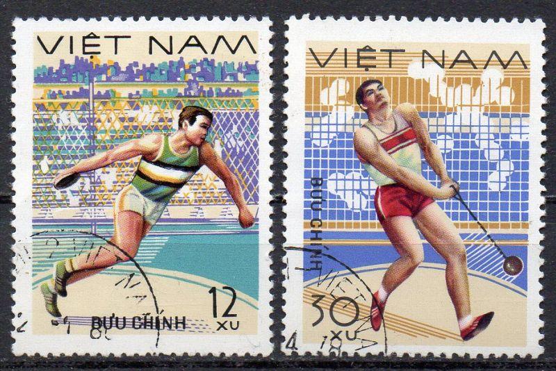 Vietnam, Mi-Nr. 961 + 964 gest., Leichtathletik: Diskus- und Hammerwerfen