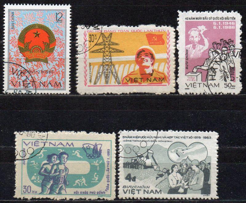 Vietnam, Mi-Nr. 1129, 1212, 1369, 1385 + 1654 gest.,