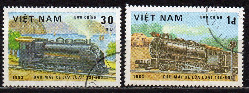 Vietnam, Mi-Nr. 1291 + 1293 gest., Lokomotiven