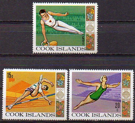 Cook - Inseln, Mi-Nr. 202, 203 + 204 **, Olympische Spiele Mexiko