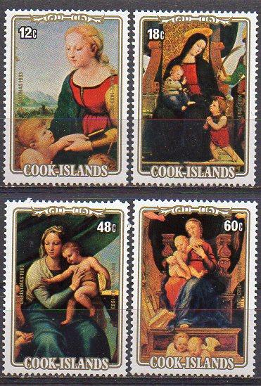 Cook - Inseln, Mi-Nr. 932, 933, 935 + 936 **, Weihnachten 1983