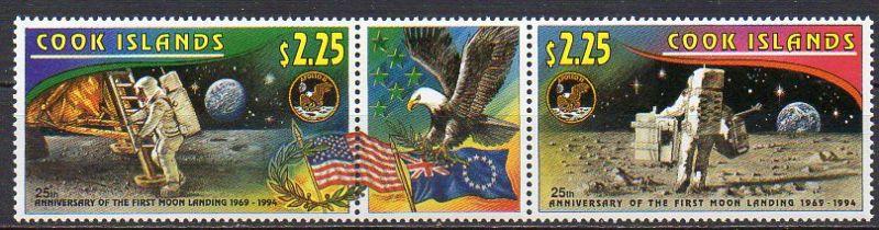 Cook - Inseln, Mi-Nr. 1406 + 1407 **, ZD mit Zierfeld, 25. Jubiläum der ersten Mondlandung