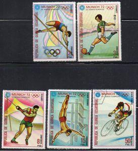 Äquatorial-Guinea, Mi-Nr. 109, 110, 112, 113 + 114 gest., Olympische Sommerspiele München 1972, div. Sportarten