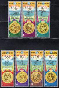 Äquatorial-Guinea, Mi-Nr. 163 - 169 gest., kompl., Olympische Sommerspiele München 1972, Goldmedaillengewinner