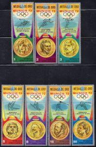 Äquatorial-Guinea, Mi-Nr. 163 - 169 **, kompl., Olympische Sommerspiele München 1972, Goldmedaillengewinner