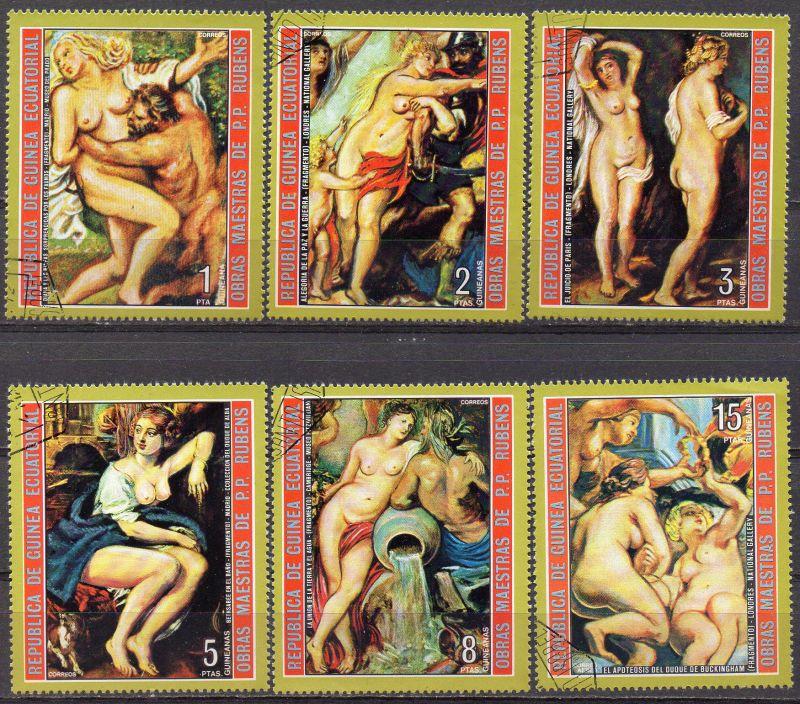 Äquatorial-Guinea, Mi-Nr. 285 u. a. gest., Aktgemälde von Peter Paul Rubens