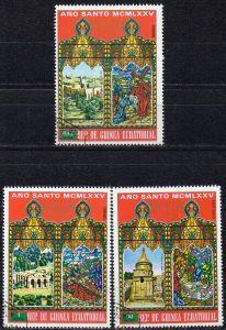 Äquatorial-Guinea, Mi-Nr. 529, 530 +533 gest., Ostern 1975, Gebäude in Jerusalem