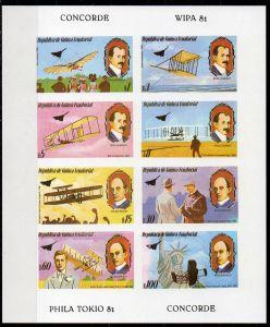 Äquatorial-Guinea, Mi-Nr. 1460 - 1467 (*) im Kleinbogen, WIPA 81, PHILA TOKIO 81, Geschichte der Luftfahrt