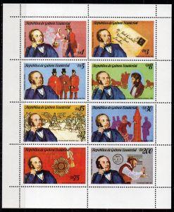 Äquatorial-Guinea, Mi-Nr. 1452 - 1459 (*) im Kleinbogen, Sir Rowland Hill