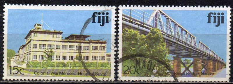 Fidschi - Inseln, Mi-Nr. 406 I X + 408 I X gest., Gebäude + Brücke