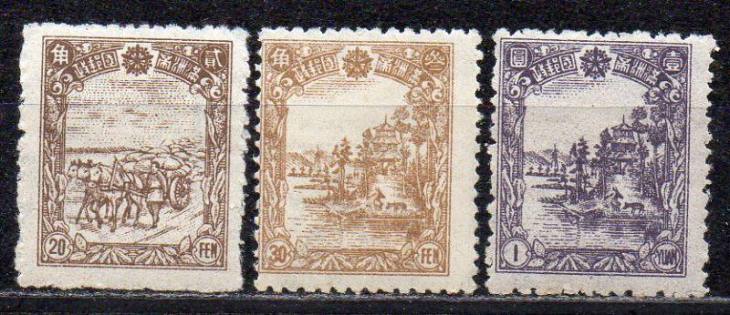Mandschukuo, Mi-Nr. 150, 151 + 152 **