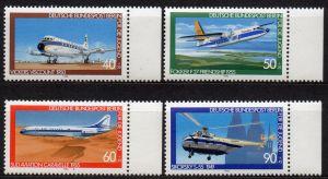 Berlin, Mi-Nr. 617 - 620 **, kompl., Rand rechts, Jugend 1980, Luftfahrt
