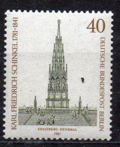 Berlin, Mi-Nr. 640 **, 200. Geburtstag von Karl Friedrich Schinkel