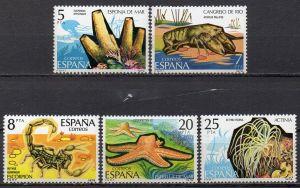 Spanien, Mi-Nr. 2423 - 2427 **, kompl., Iberische Tierwelt: Wirbellose Tiere