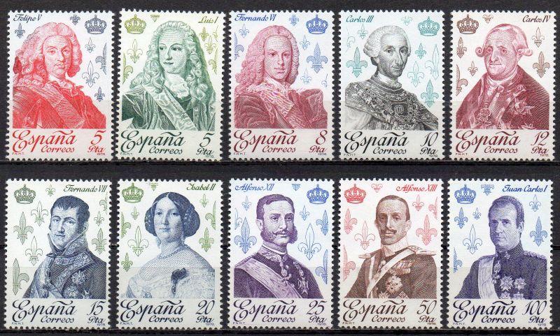 Spanien, Mi-Nr. 2388 - 2397 **, kompl., Spanische Könige aus dem Hause Bourbon