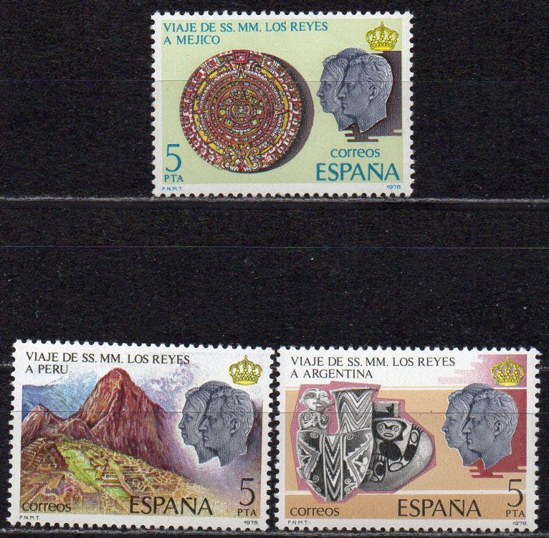 Spanien, Mi-Nr. 2385 - 2387 **, kompl., Besuch des Königspaares in Mexiko, Peru und Argentinien
