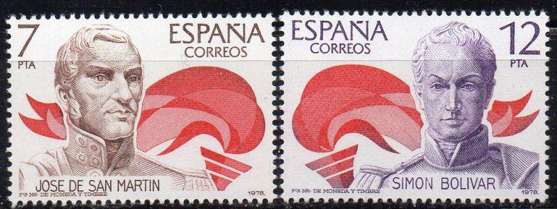 Spanien, Mi-Nr. 2381 - 2382 **, kompl., Spanisch-Amerikanische Geschichte - Unabhängigkeitskämpfer