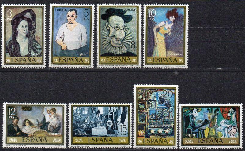 Spanien, Mi-Nr. 2373 - 2380 **, kompl., Gemälde von Pablo Picasso
