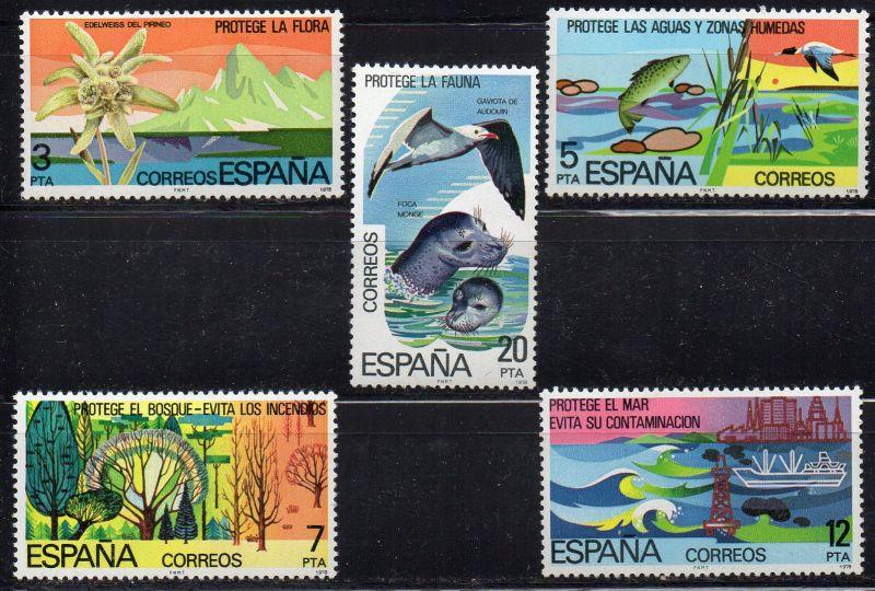 Spanien, Mi-Nr. 2361 - 2365 **, kompl., Naturschutz