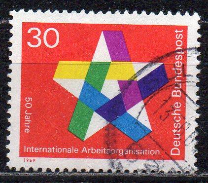 BRD, Mi-Nr. 582 gest., 50 Jahre Internationale Arbeitsorganisation IOA
