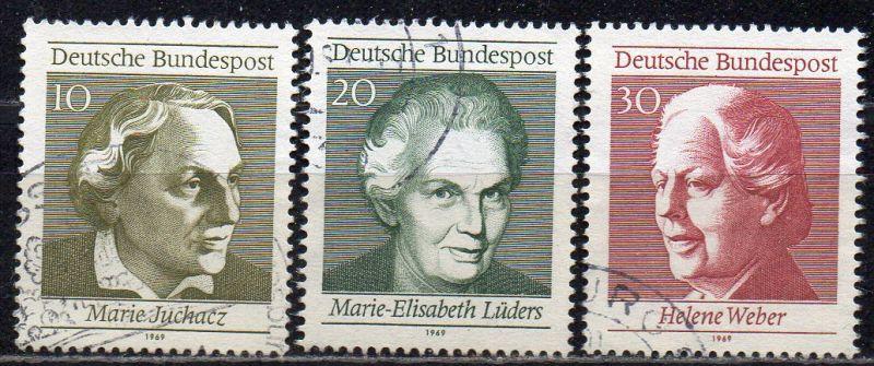 BRD, Mi-Nr. 596 - 598 gest., kompl., aus Block 5, 50 Jahre Frauenwahlrecht in Deutschland