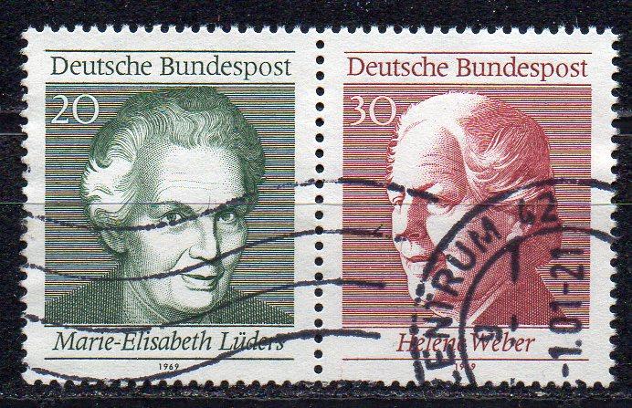 BRD, Mi-Nr. 597 + 598 gest., ZD, aus Block 5, 50 Jahre Frauenwahlrecht in Deutschland
