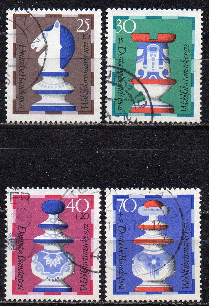 BRD, Mi-Nr. 742 - 745 gest., kompl., Wohlfahrt 1972 - Schachfiguren