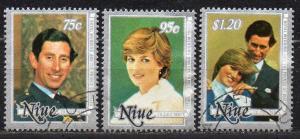 Niue, Mi-Nr. 421 - 423 gest., kompl., Hochzeit Prinz Charles u. Lady Di