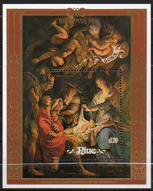 Niue, Block Mi-Nr. 113 **, Weihnachten 1988