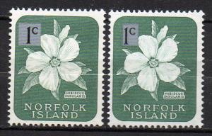 Norfolk Inseln, Mi-Nr. 62 I + 62 II **, Blüten