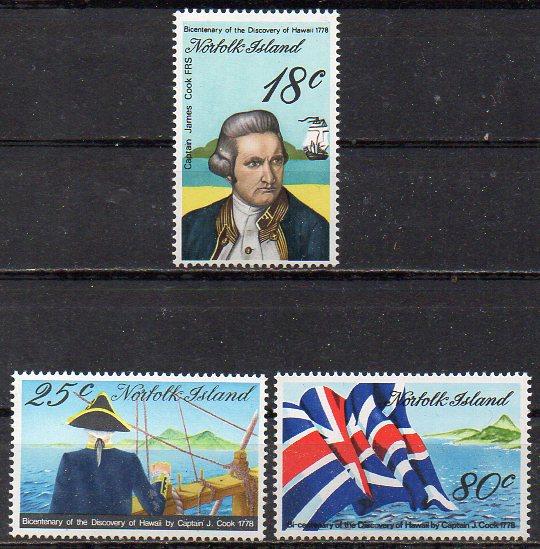 Norfolk Inseln, Mi-Nr. 205 - 207 **, kompl., Kapitän James Cook - Entdeckung Hawaiis 0