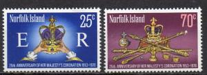 Norfolk Inseln, Mi-Nr. 212 - 213 **, kompl., 25. Krönungsjubiläum ER II.