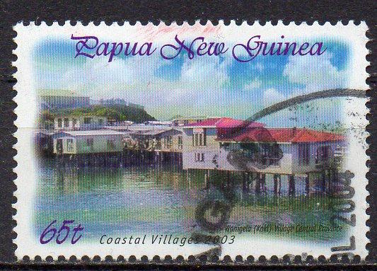 Papua Neuguinea, Mi-Nr. 1003 gest., Pfahlbauten